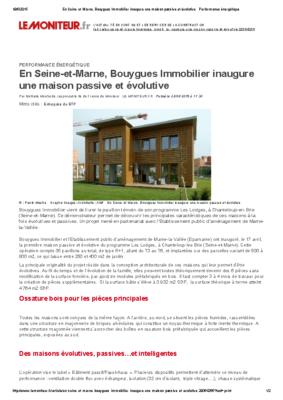 LE MONITEUR_BOUYGUES IMMOBILIER  MAISON PASSIVHAUS EN SEINE ET MARNE
