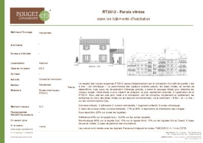 116105_Etude paramétrique RT2012 – Parois vitrées