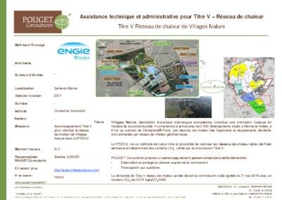 15E143_Accompagnement Titre V – Réseau de chaleur Village Nature_ENGIE Réseaux